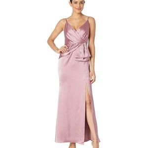 Adrianna Papell Satin Faux-Wrap Gown Rose Size 8